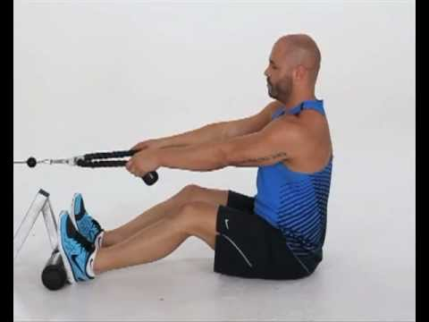 Seated Cable Rope Row Elbows High