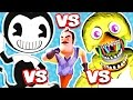 BENDY AND THE INK MACHINE vs HELLO NEIGHBOR vs FNAF (FNAF Nightmare Animatronics Jump Scare Me!!)