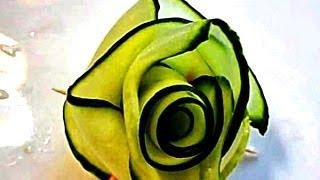 Смотреть онлайн Урок карвинга для начинающих: как сделать розу из огурца