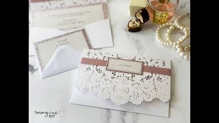 Make Your Own Luxury Wedding Invitations - DIY Wedding Invitations With Laser Cut Pocket And Glitter