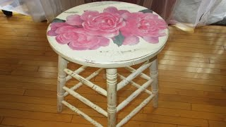 DIY Fairy Rose Decoupage Shabby Chic Stool