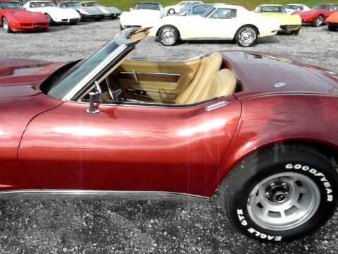 1975 Dark Red Corvette Convertible Stingray 4spd Video