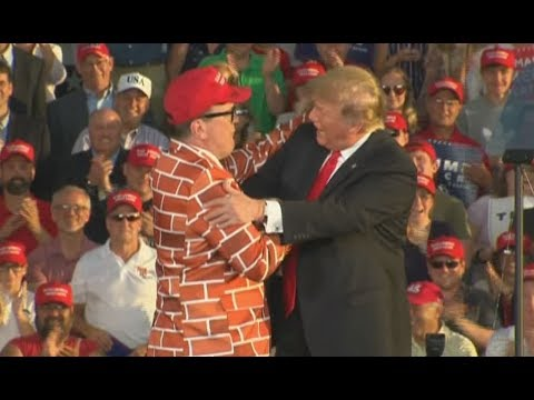 MAGA WALL SUIT MAN: President Trump Invites Fan On Stage