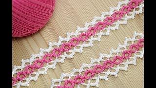 Вязание крючком ленточного кружева на основе колечек - crochet ribbon lace pattern