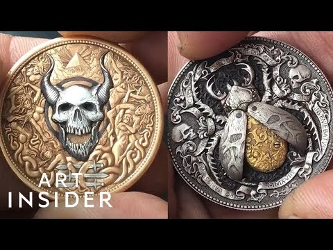 Russian artist turns coins into mechanical art pieces with hidden levers and booby traps