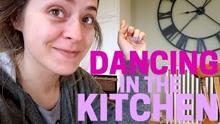 Dancing in the KITCHEN to Mike 's cheesy 80's tunes :