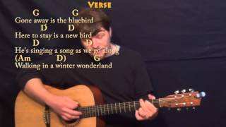 winter wonderland christmas strum guitar cover lesson in g with chords lyrics
