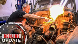 Old Chevy engine spits flames before removal from rusty project truck | Redline Update #24