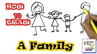 How To Draw Family In Easy Steps, Step By Step For Children, Kids, Beginners
