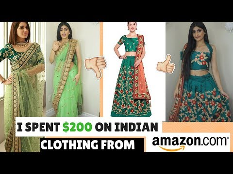 I SPENT $200 ON INDIAN CLOTHING FROM AMAZON  TRYING ON CHEAP LEHENGAS AND SAREES