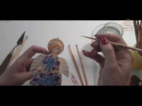 Engel und Hampelmann, Bewegendes Spielzeug Engel aus Holz, Schutzengel aus Handarbeit