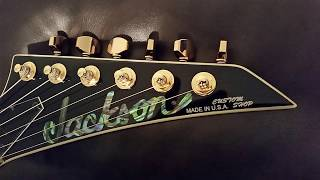 Jackson Kelly USA Custom Shop KE2 EMG Black And Gold & Abalone Inlays