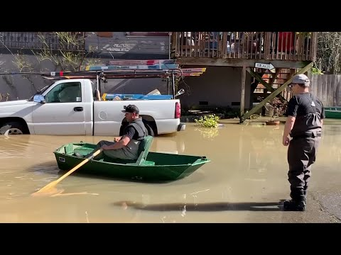 Officials say they expect two Northern California towns, cut off after a river broke its banks during heavy rain, to be accessible again by Friday. No deaths or injuries are reported in and around Guerneville and Monte Rio. (Feb. 28)