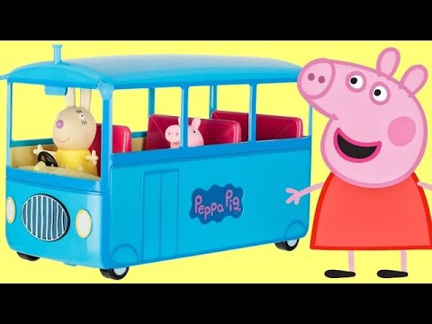 Nat and Essie Unbox Peppa Pigs family Back to School Bus