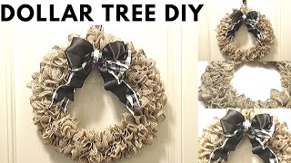 Dollar Tree DIY Burlap Wreath | Easy Pull-Through Method | Farmhouse Home Decor 2020 New !
