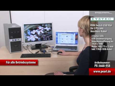 Xystec KVM-Switch USB/VGA für 2 PCs inkl. Anschluss-Kabel