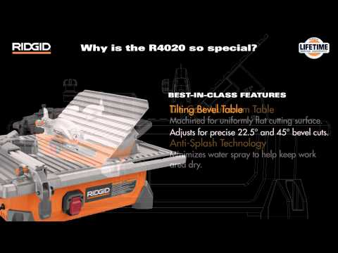"R4020 7"" RIDGID Portable Job Site Wet Tile Saw"