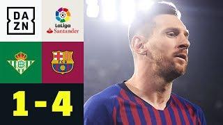 Dreierpack! Die Welt staunt über Lionel Messi: Real Betis - FC Barcelona 1:4 | La Liga | DAZN  Lionel Messi war der alles entscheidende Mann bei Barcas 4:1-Sieg gegen Real Betis am 28. Spieltag. Der Argentinier traf gleich drei Mal, ein Tor schöner als das andere.   Wir zeigen die Highlights dieses Spiels im Video!    ► Alles aus der Fußball-Welt JETZT auf Goal: https://bit.ly/2N4G7Go ►Sichere dir deinen DAZN-Gratismonat: http://bit.ly/DAZNbundesliga1 ►Das Programm von DAZN: http://bit.ly/2uFkulD ►Goal auch auf Facebook: https://bit.ly/2Bx0nM0 +++ Die besten Fußball Highlights aus allen Wettbewerben auf YouTube +++ ►DAZN UEFA Champions League auf YouTube abonnieren: https://bit.ly/2WL75qD  ►DAZN UEFA Europa League auf YouTube abonnieren: https://bit.ly/2DTc8yb  ►DAZN Bundesliga auf YouTube abonnieren: https://bit.ly/2Daw8dS  ►DAZN Premier League auf YouTube abonnieren: https://bit.ly/2ScsgUd  ►Goal auf YouTube abonnieren: https://bit.ly/2Bk4H0Y   +++ Die besten Sport Highlights auf YouTube +++ ►DAZN Tennis auf YouTube abonnieren: https://bit.ly/2DblEuK  ►DAZN Darts auf YouTube abonnieren: https://bit.ly/2ScVbqU    ►SPOX auf YouTube abonnieren: https://bit.ly/2MPaQqI   +++ Über GOAL +++ Wir leben und atmen den Fußball, überall, 24 Stunden an sieben Tagen in der Woche – wir sorgen für Gesprächsstoff unter den Fußballbegeisterten auf der ganzen Welt. Football, Soccer, Futbol, Calcio, Futebol – wie auch immer Du es nennst und wen auch immer Du unterstützt, wir sind Deine allererste Anlaufstelle. Mit mehr als 530 Journalisten sind wir in über 50 Ländern ganz nah am Geschehen dran. Bei uns findet Ihr exklusive Nachrichten über die wichtigsten Ligen, Teams und Spieler der Welt.  Über 37 Millionen Fußball-Fans schenken uns ihr Vertrauen. Wir danken euch dafür!  Registriere dich direkt und sicher dir deinen Gratismonat: https://bit.ly/2BxW8Qi  Impressum: https://bit.ly/2N1tviU