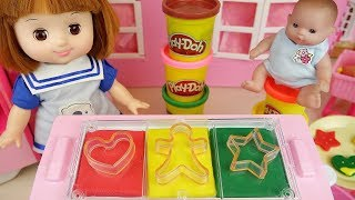 Baby doll and Play doh cookie and food shop cooking toys