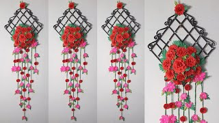 Diy Paper Flowers Wall Hanging🌷Homemade Origami Flower Rose Wall Art🌺Home Decor Craft Idea