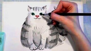 Рисуем пушистого кота ,акварелью