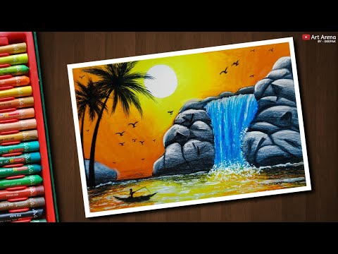 Easy Night Pond Scenery Drawing For Beginners With Oil Pastels