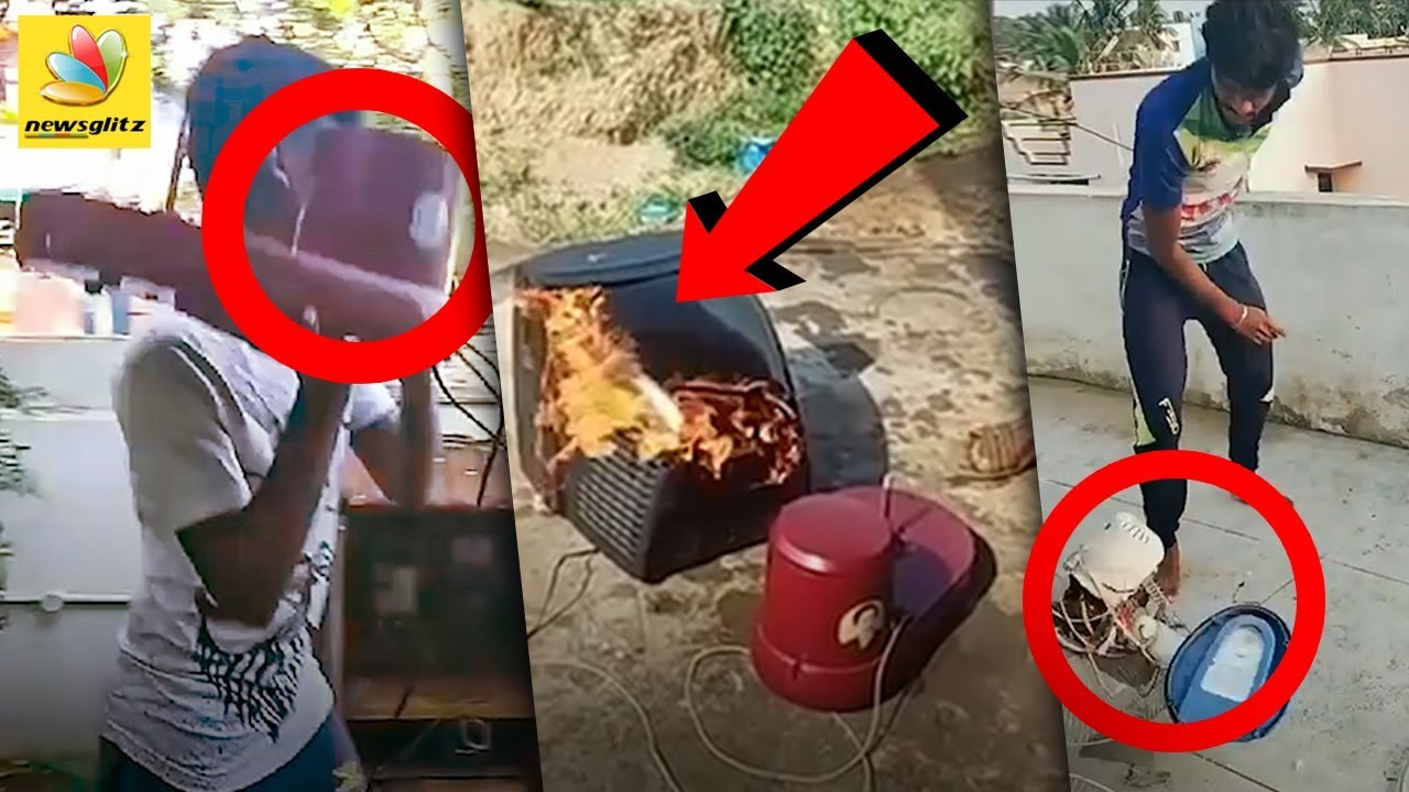 இலவச பொருட்களை உடைத்து -  எரித்த விஜய் ரசிகர்கள் : vijay fans burstout | Freebies  #Sarkar Issue