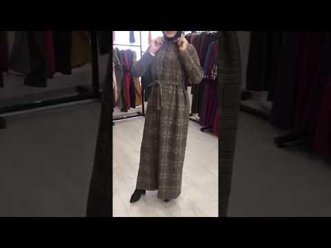 Ekose Desenli Kışlık Tesettür Elbise
