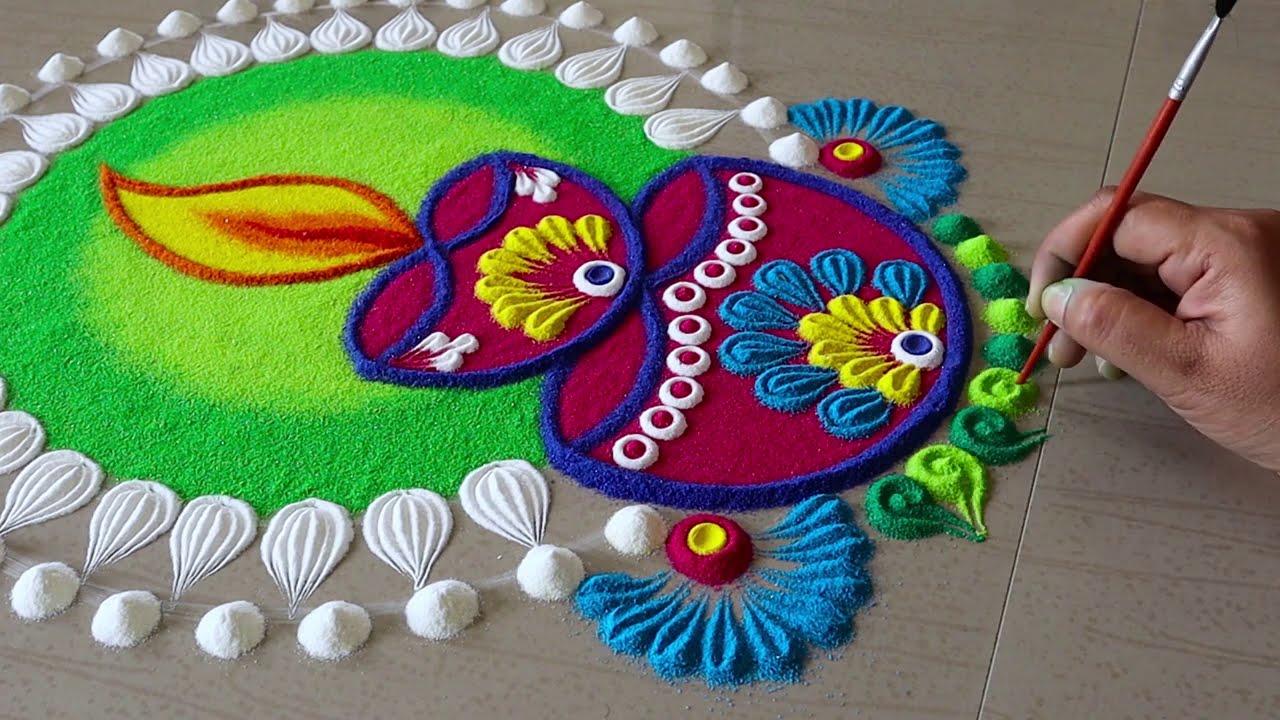navaratri rangoli design with diyas by pakka local