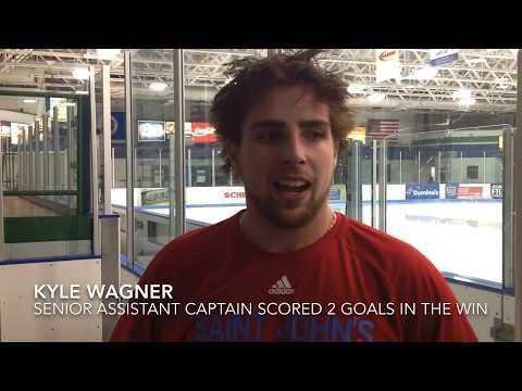 Post-Game Interviews w/SJU Hockey's Berglove, Wagner & Schueller - 2019 UW-Stout
