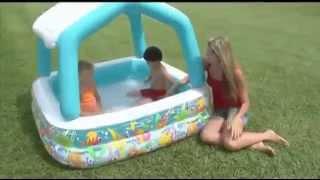 Детский надувной бассейн Intex 57470 квадратный, съемная крыша, 280 л от компании Большая ярмарка - видео