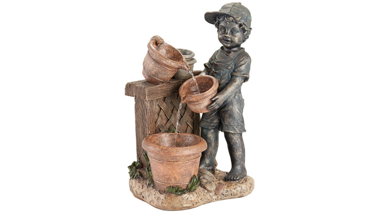 "Boy with Garden Pots 28"" High Stone Outdoor Fountain"