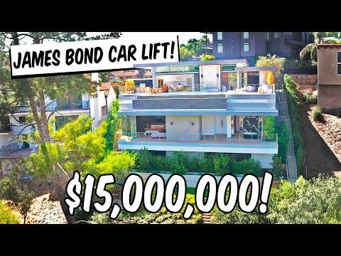 $15M HOLLYWOOD MANSION HAS JAMES BOND CAR LIFT!!