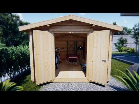 Großes Gerätehaus aus Holz Eva A 12m²