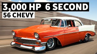 3000hp, 6 Second Street Driven '56 Chevy With Twin Turbos and Steel panels