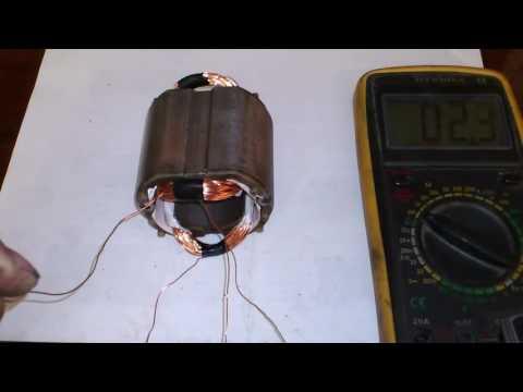 Перемотка статора (УШМ) болгарки, на коленке.  Motor rewinding