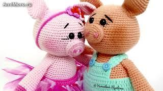 Амигуруми: схема Сладкой парочки свинок. Игрушки вязаные крючком - Free crochet patterns.