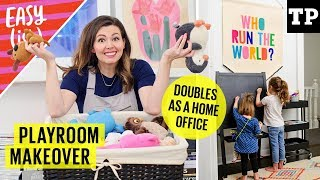 Playroom Makeover: Organize Toys & Decorate On A Budget (+ Home Office Ideas) | Easy(ish) S01E13