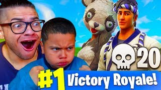 DUOS WITH MY 9 YEAR OLD LITTLE BROTHER! *NEW* PANDA & SUSHI MASTER SKIN! FORTNITE BATTLE ROYALE RAGE