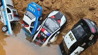 police car toy for kids | build bridge blocks toys | police car toy fall into the water