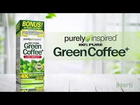 Purely Inspired, зеленый кофе+, 100растительных таблеток, которые удобно глотать