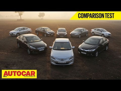 8 Car Showdown | Mid-Size Sedan Comparison Test | Autocar India - Fiat Videos
