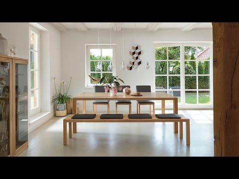 TEAM 7 loft Tisch und Bank, s1 Stuhl, cubus Vitrine