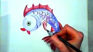 Симпатичная Рыбка ,акварелью.