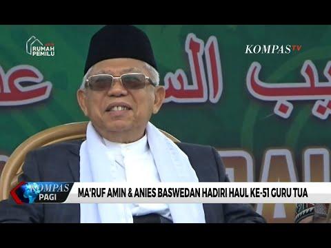 Ma'ruf Amin dan Anies Baswedan Hadiri Haul Ke-51 Guru Tua