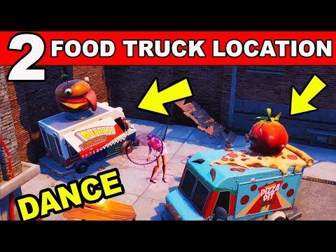 Dance or Emote Between Two Food Trucks - (Downtown Drop Challenge) Fortnite Battle Royale