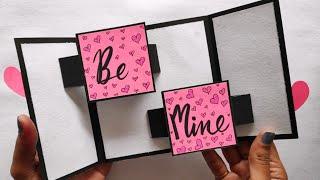 Handmade Valentines Day Card 2020/valentines Day Scrapbook Ideas/slider Card/love Greeting Cards