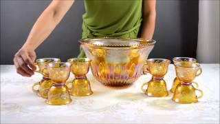 Indiana Glass Princess Gold Carnival Punch Bowl Set