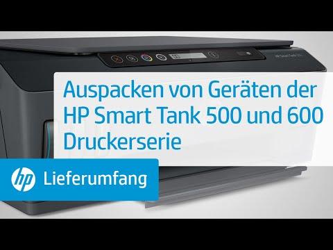 Auspacken von Geräten der HP Smart Tank 500 und 600 Druckerserie