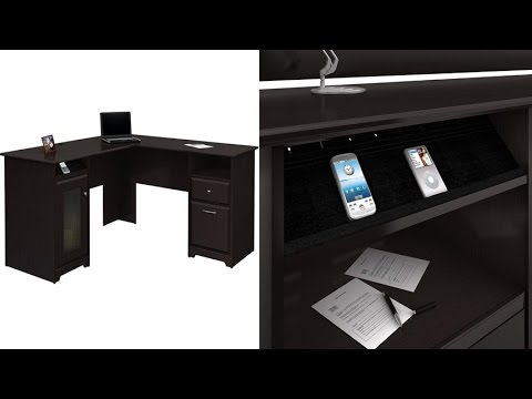 Bush Furniture Harvest Espresso OakCabot Collection 60 Inch L-Desk With Smart Technology Integration